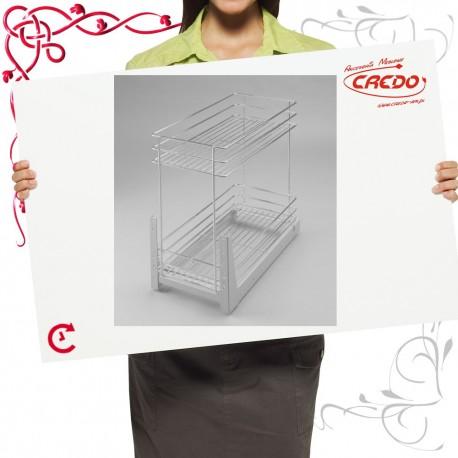 Kosz CARGO mini do szafki 500mm 2 półkowy lakier srebrny