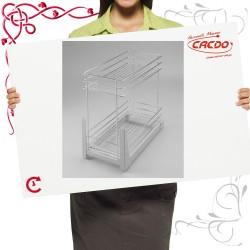 Kosz CARGO mini do szafki 600mm 2 półkowy lakier srebrny