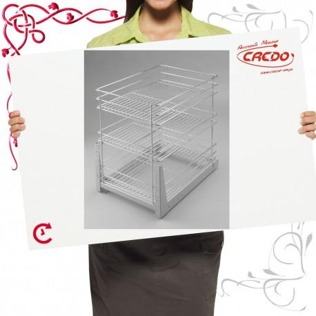 Kosz CARGO mini do szafki 300mm 3 półkowy lakier srebrny