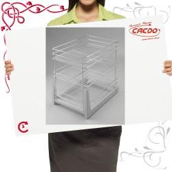 Kosz CARGO mini do szafki 400mm 3 półkowy lakier srebrny