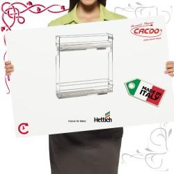 Kosz CARGO ITALY mini do szafki 200mm 2 półkowy chrom połysk prawe