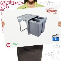 Segregator na odpady M-LINE 60cm potrójny bez mocowania frontu